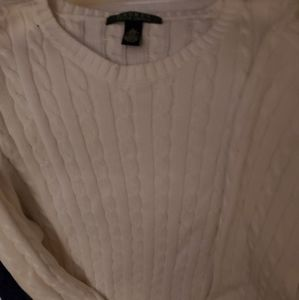 Ralph Lauren polo women cable sweater large white